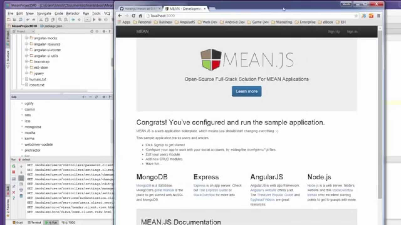 Install MEAN.js 0.4.0 and run using Gulp